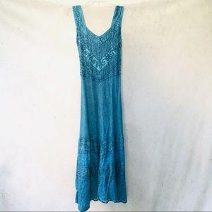 Advance Apparels Aquamarine Embroidered Sundress